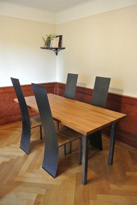 11 Ensemble Table Chaise Acier Et Bois